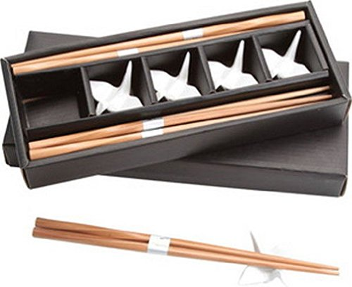 Bamboo Chopsticks W/ White Porcelain Crane Chopsticks Rests Set (Crane Bowl)