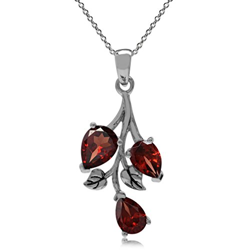 (Silvershake 2.85ct. Natural Garnet 925 Sterling Silver Leaf Pendant w/18 Inch Chain Necklace)