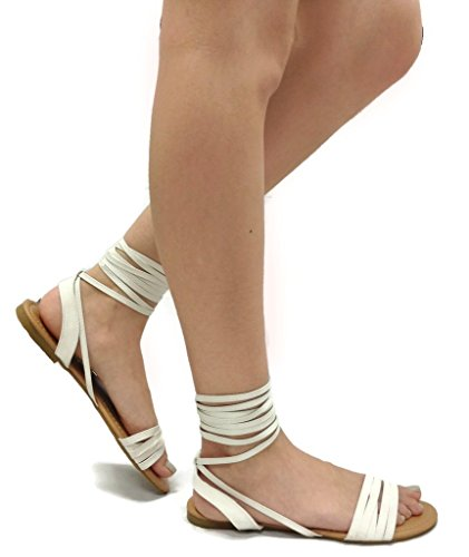 Spirit Moda Olivia-18 Over Toe Strap Sandals Wrap Around Womens Lace-Up Casual Roman Strappy, White, 6.5