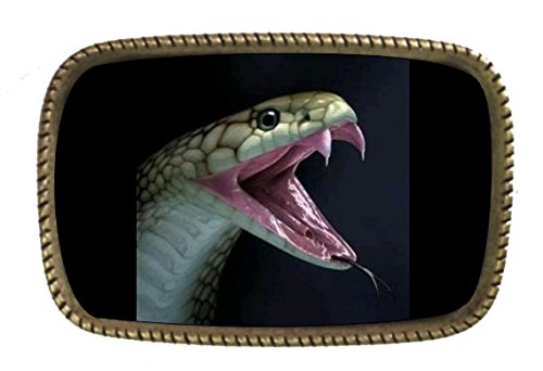 King Cobra Snake Brass Belt Buckle Made In USA (Snake Designer Belt)