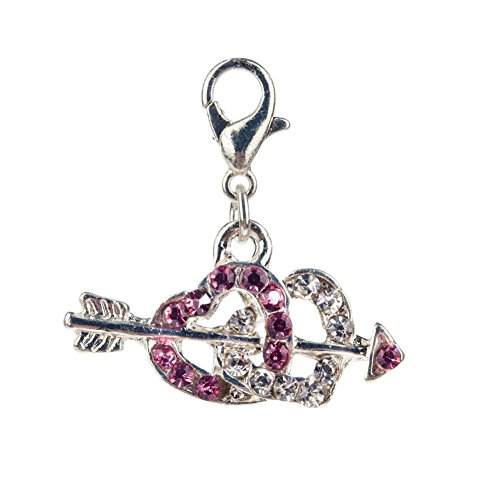 (Gorgeous Sparkly Silver Colored Double Heart Pierced With Arrow Shaped Clip On Pendant Charm For Bracelets Bangles Studded With Pink And Clear Rhinestones Crystals By VAGA©)