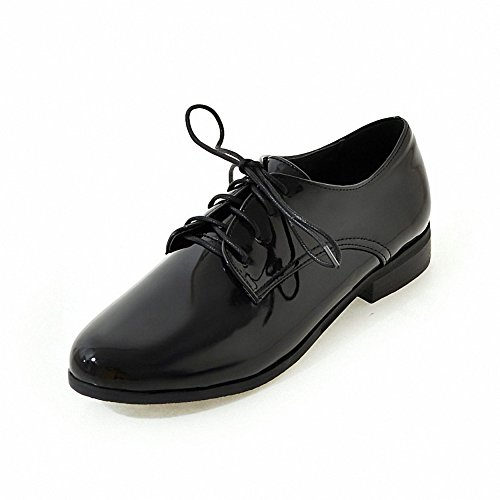 Lace oxford leather Hecater Black Shoes Women's 1 up Wingtip patent TY151qw