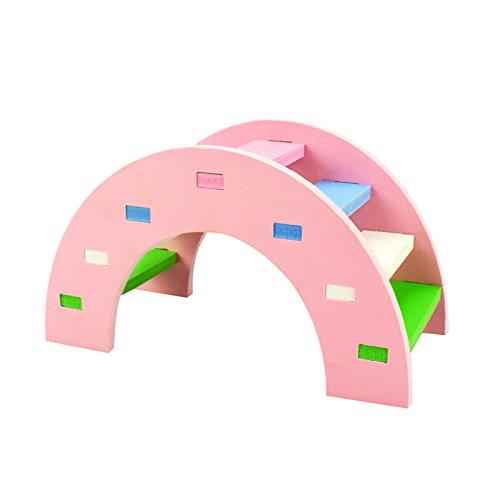 Hamster Toy Rainbow Bridge Seesaw - Small Pet Animals Wood Bridge Climb Playground Gift for Dwarf Syrian Hamsters Mice Rat - Hamster Pink