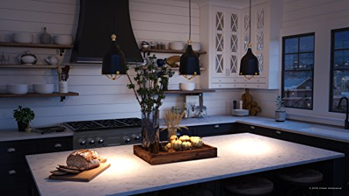 Luxury Americana Pendant Light, Small Size: 11.75''H x 6.375''W, with Nautical Style Elements, Midnight Black Finish, UHP2341 from The Cincinnati Collection by Urban Ambiance by Urban Ambiance (Image #1)