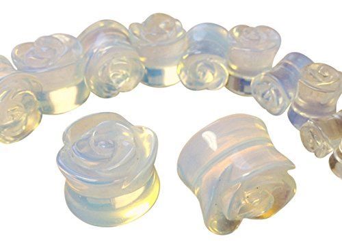 PAIR of Carved Opalite Opalescent Stone Rose Flower Double Flare Plugs 2g thru 5/8