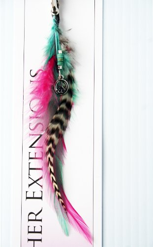 Feather Hair Extension Clip with Peace Charm