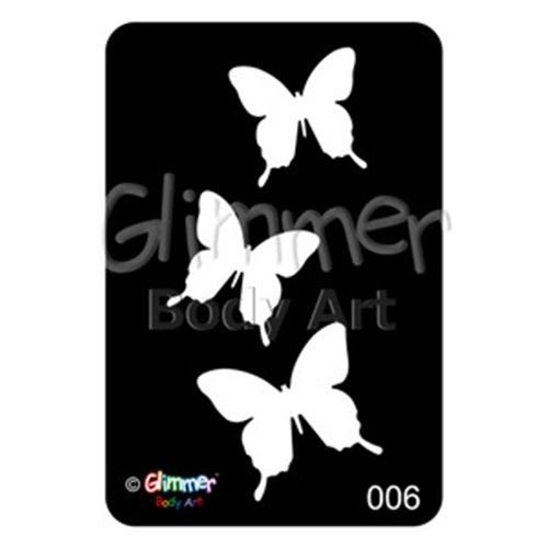 (Glimmer Body Art Glitter Tattoo Stencils - Butterflies)