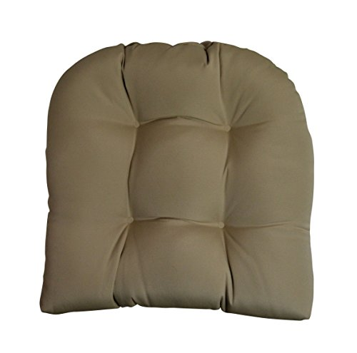 Sunbrella Antique Beige Large Wicker Chair Cushion - Indoor / Outdoor 1 - Wicker Chair Seat Cushion