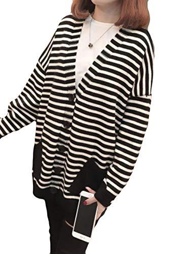 DeBangNi ロングカーディガン 長袖 ストライプ レディース 秋服 セーター カーディガン 無地 Vネック ゆったり トップス シンプル 韓国風 アウター 羽織 上着 大きめ コンフォート ファッション きれいめ