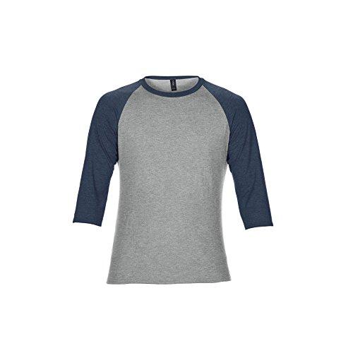 T-shirt Tone Raglan (Anvil Unisex Two Tone Tri-Blend 3/4 Sleeve Raglan T-Shirt (2XL) (Heather Grey/Heather Navy))
