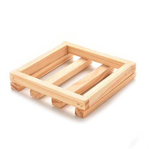 77cm Square Natural Wood Soap Dish Box Container Shower Room Accessory gift EV