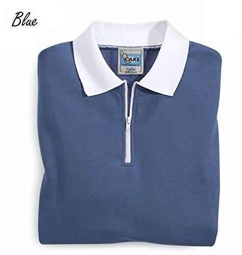Care Apparel Quarter Zip Sweatshirt Women - White Contrast Collar - Fleece Pullover Sweatshirt - for Women