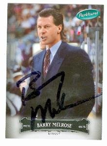 Autograph Warehouse 76432 Barry Melrose Autographed Hockey Card Los Angeles Kings Coach 2006 2007 Parkhurst No .76 Black from Autograph Warehouse