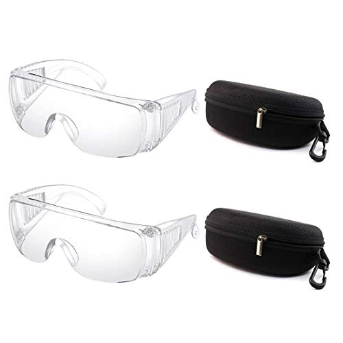 2Pcs Transparent Safety Goggles Over Glasses Clear Standard Safety Glasses Full Frame Adult Goggle Anti-fog for Men Women, Personal Protective Equipment