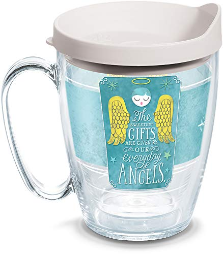 Tervis 1261128 Hallmark-Everyday Angels Insulated Tumbler with Wrap and White Lid, 16oz Mug, Clear