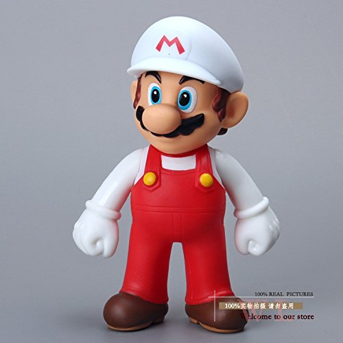 Super Mario Bros Figures Mario with White Hat PVC Action Figure Model Toy Doll 5