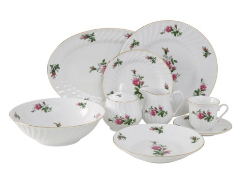Ciera 45-Piece Vintage Rose Dinner Set with Gold Trim Vintage Floral