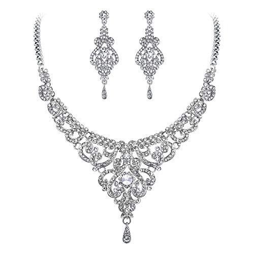 EVER FAITH Bridal Silver-Tone Vase Flower Clear Austrian Crystal Necklace Earrings Set (Heart Victorian Style Bracelet)