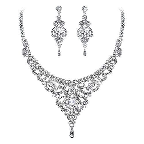 EVER FAITH Bridal Silver-Tone Vase Flower Clear Austrian Crystal Necklace Earrings Set