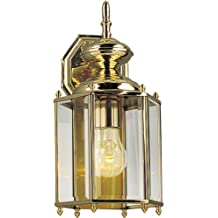 Progress Lighting P5832-10 Weathered Solid Brass Hexagonal Wall Lantern with Beveled Glass, Polished Brass