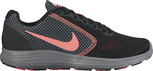 NIKE Women's Revolution 3 Laufschuh Schwarz / Lava Glow / Hot Punch / Cool Grey