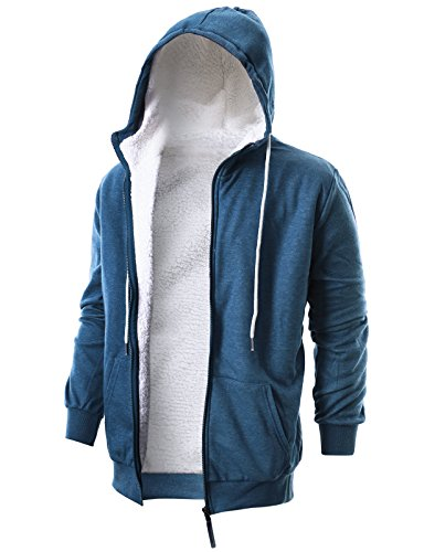 Ohoo Mens Slim Fit Long Sleeve Thermal Faux Fur Zip-up Hoodie With Kanga Pocket/DCF009-BLUE-M