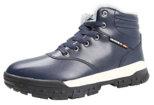 Sky SHOP Mens Warm Outdoor Leather Lace up Fur Lining Ankle Snow Boots High Top Sneakers(9 D(M) US, Blue)