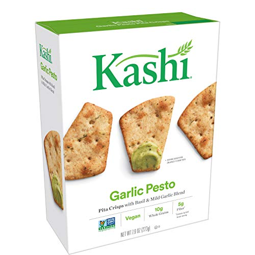 - (Discontinued By Manufacturer) Kashi, Pita Crisps, Garlic Pesto, Vegan, Non-GMO Project Verified, 7.9 oz(Pack of 12)