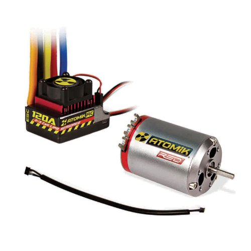 Atomik Red 540 10.5T 3300kv Brushless Sensored Motor 120A ESC Combo Fits: 1:10 RC Traxxas, Team Associated, Losi, and (Novak Crawler)
