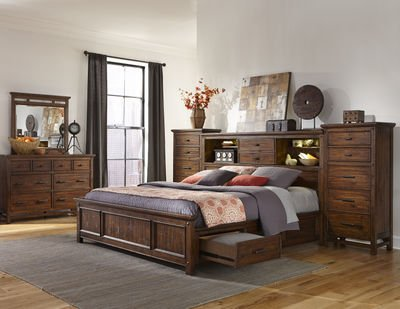 Amazoncom Intercon Wolf Creek Vintage Acacia King Storage Bed W