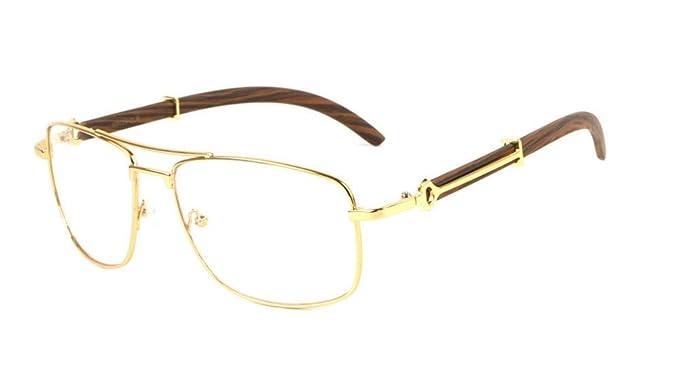 3939d30b411 Associate Metal   Wood Aviator Eyeglasses   Clear Lens Sunglasses - Frames ( Gold   Cherry