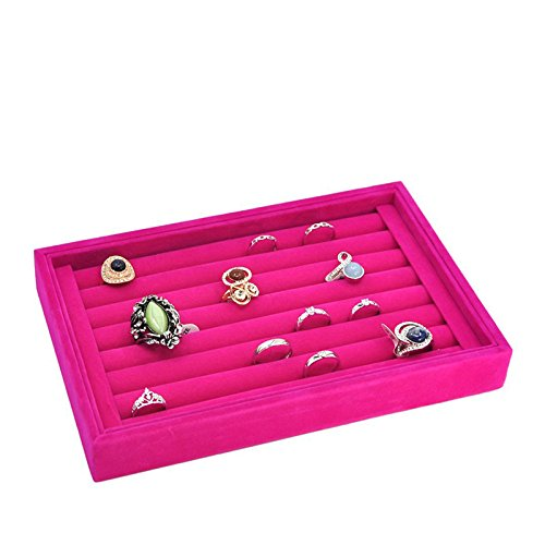 Yosoo Jewelry Ring Earrings Display Box Cufflinks Storage Tray Case Holder Organizer (Rose) (Jeweley Box)