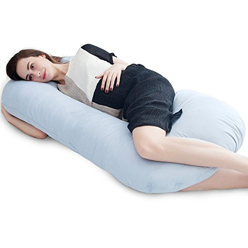 """Price comparison product image Puredown C Shaped Maternity / Pregnancy Contoured Body Pillow with Zippered Cover,  27""""x56"""",  Blue"""