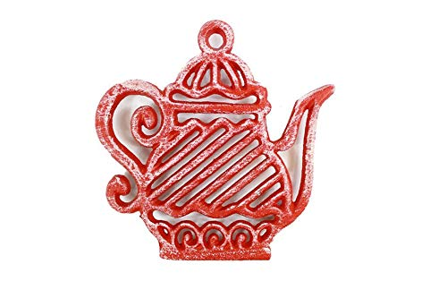 Handcrafted Model Ships Rustic Red Cast Iron Teapot Trivet 9