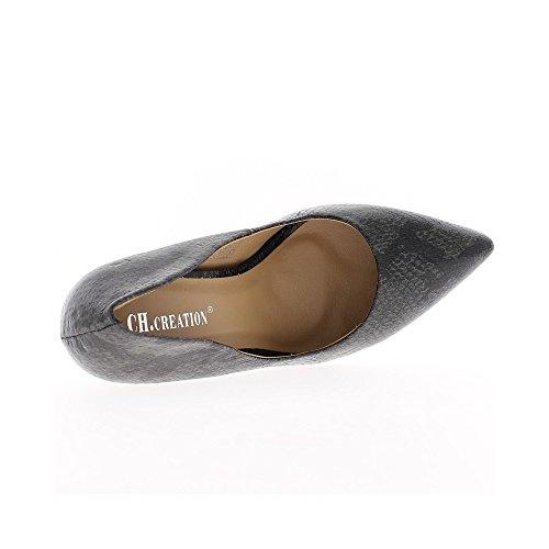 Escarpins noirs et gris à talons aiguille de 11cm pointus