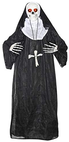 Animated Talking and Moving Skeleton Nun Halloween Decoration, 33 1/2 Inch