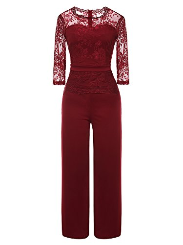 LSAME Women's Elegant Lace Spliced Playsuit Cocktail High Waisted Wide Leg Long Romper Jumpsuit (Wine Red, Large) ()