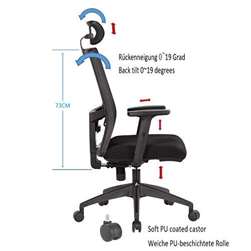 Hög rygg ergonomisk kontorsstol med justerbart nackstöd och ländryggsstöd, vridbar höjdjustering och lutningsfunktion för soho/kontorsarbete, skrivbordsstol, spelstol