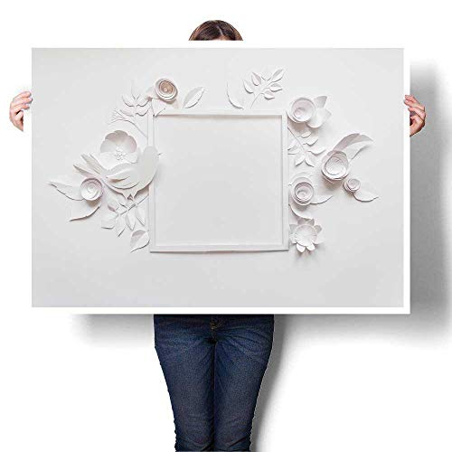 SCOCICI1588 Hanging Painting Square Frame with White Paper Flowers Flat Lay Nature Concept Painting,24
