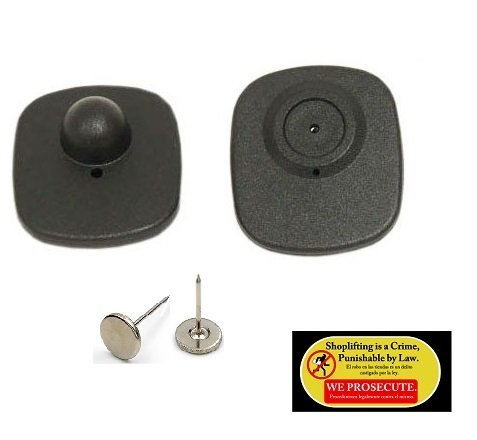 1000 Checkpoint Compatible 8.2MHz Mini Sensor Hard Tag Black with pin + 1 Anti Shoplifting Sticker