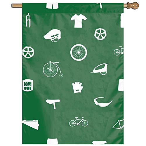 GOOESING House Banner Cycling Icon Holiday Decoration Indoor Outdoor Polyester Double Side Yard Garden Flag 12x18 Inch.