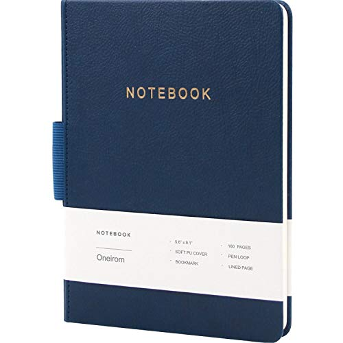 A5 Classic Notebook Journal,5.9 X 7.8 inches,Hard Cover,160 Premium Thick Pages,Fine PU Leather, College Ruled Notebook with Pen Holder,1 Ribbon Bookmark for Journaling Writing Note and Planner