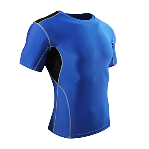 ADHEMAR Men's Muscle Workout Fitness Gym Bodybuilding Short Sleeve T-shirt Blue L (Tee Fatigue Compression Sleeve Long)