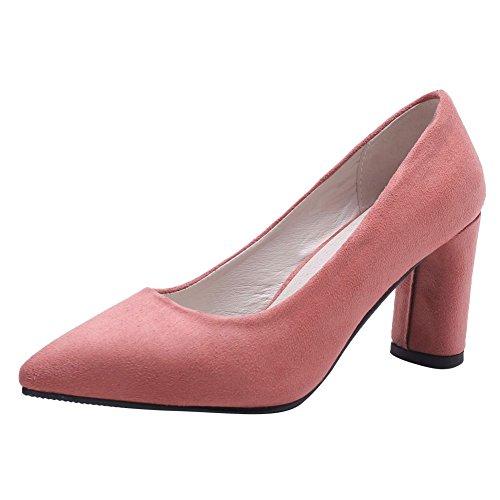 Pied De Charme Femmes Chunky Talon Haut Bout Pointu Pompes Chaussures Rose