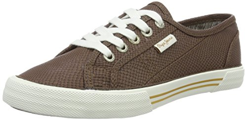 Pepe Jeans WoMen Aberlady Python Trainers Brown (Capuccino 875)