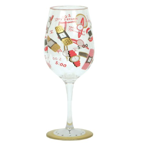 Cr Gibson Lolita Love My Party of Two, 5 O' Clock Somewhere 16-Ounce Acrylic Wine Glasses, Set of 2