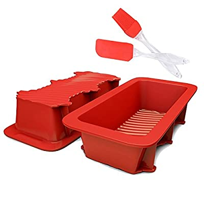 SASRL Silicone Loaf and Bread Pan - Red ,Nonstick,Commercial Grade?2PCS?