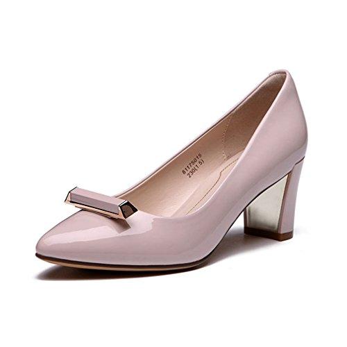 brevetto metallico sera Unknown Comfort Aspetto pelle Scarpe PU in Tacchi pompe alti blocco punta lucido lavoro Donna punta rosa a respirare di q6TqxrzOW
