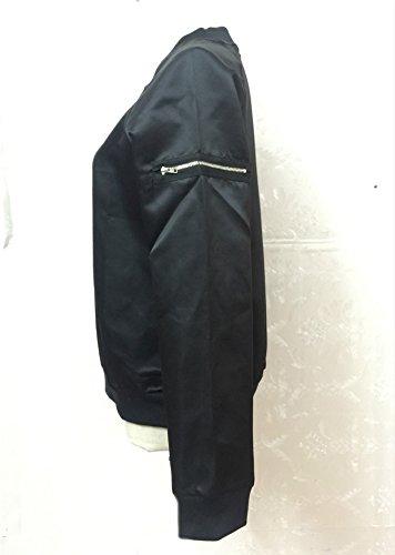 Baseball Cappotti Nero Ragazza Corta Hiphop E Puro Da Giacche Calda Manica Eleganti Cappotto Colore Giubbotto Bomber Zip Donna Autunno Inverno Moto Giacca Lunga Unisex Moda P0EgAg4nq