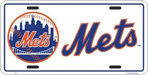 (Football Fanatics New York Mets White Metal License Plate)